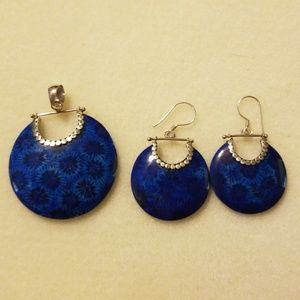 Beautiful blue pendant and earrings to match. .925